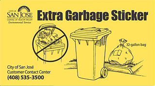 Image of an Extra Garbage Sticker.
